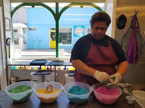gareth making bath bombs